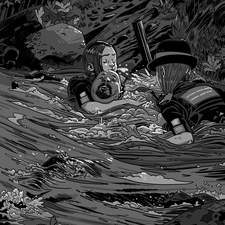 Interior Noir inspired artwork for Gorau Glas, a Welsh learner chapter book for adults.