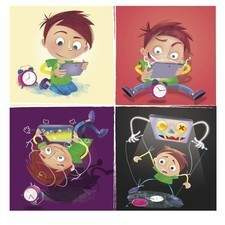 Colour illustration sequence of a child playing too much time with  tablet . Just  for children think about who is working who