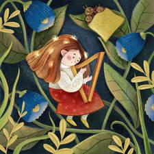 Helga with a harp
