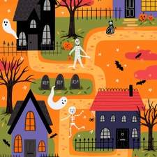 Spooky Street - Illustration for a Halloween collection