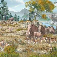 European landscape with animals and cave men at the end of the Ice Age