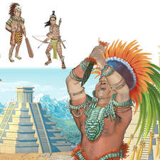 Aztec priest, noble man, warrior and hunter with temples in the background