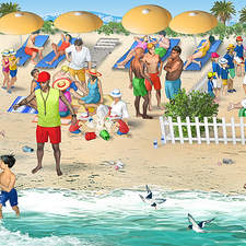 French holiday scene on a strand with people of various ethnicity.