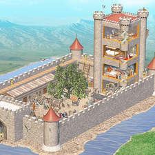Early medieval castle in Britain with cutaway details