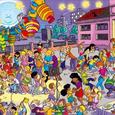 It is a very old illustration, one of my first works, but it reflects very well the festive tone of the end of the school year and the beginning of the summer holidays in the festivities of San Juan in my country.  ANAYA publisher Es una ilustración muy antigua, una de mis primeras obras, pero refleja muy bien el tono festivo del final del curso escolar y el inicio de las vacaciones de verano en las fiestas de San Juan en mi país.  ANAYA publisher