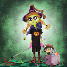 A zombie witch with her cute little son.  Working with textures