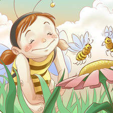 girl with bees