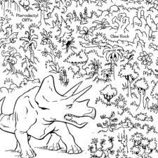"Maze puzzle for ""Dinosaur Rampage"", published by Dover Publications"