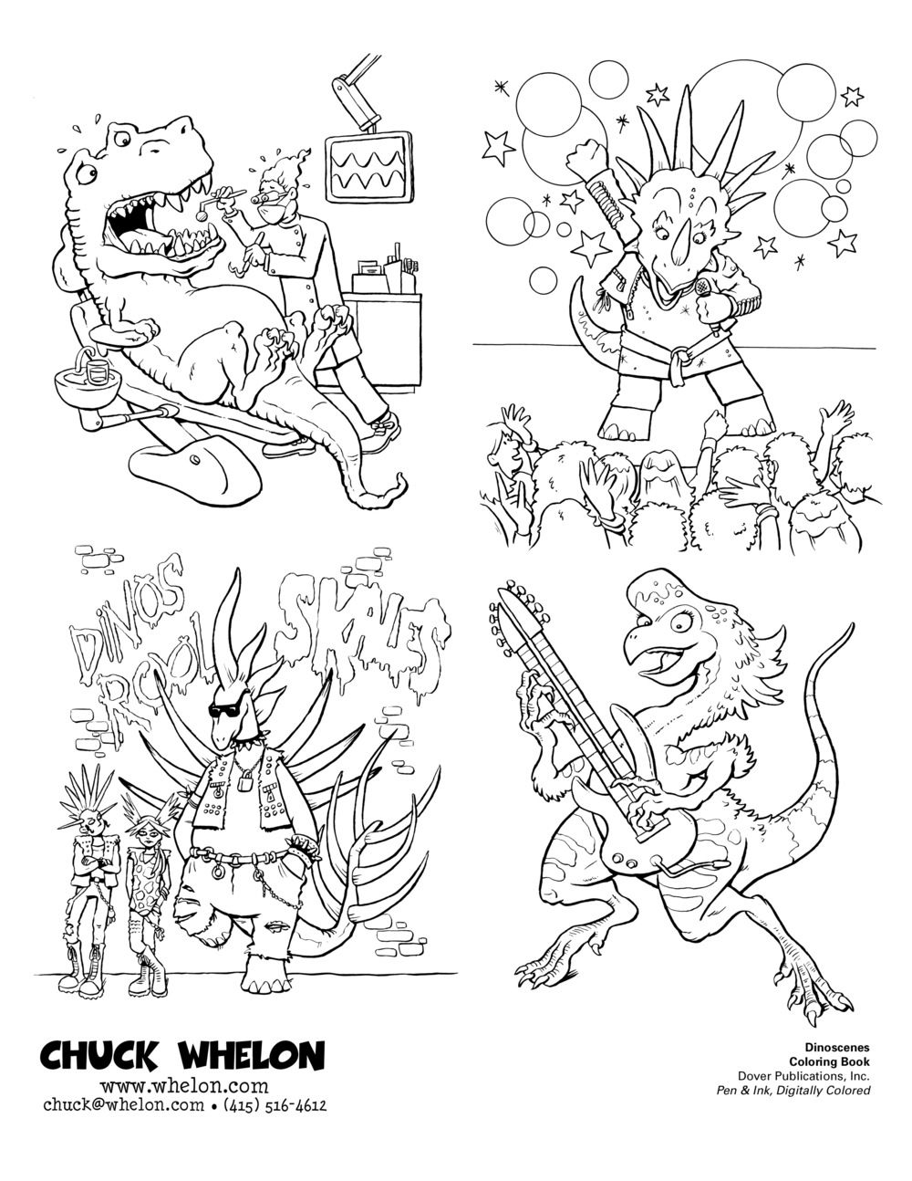 "Pages from ""Dinoscenes"" Coloring Book, Published by Dover Publications"