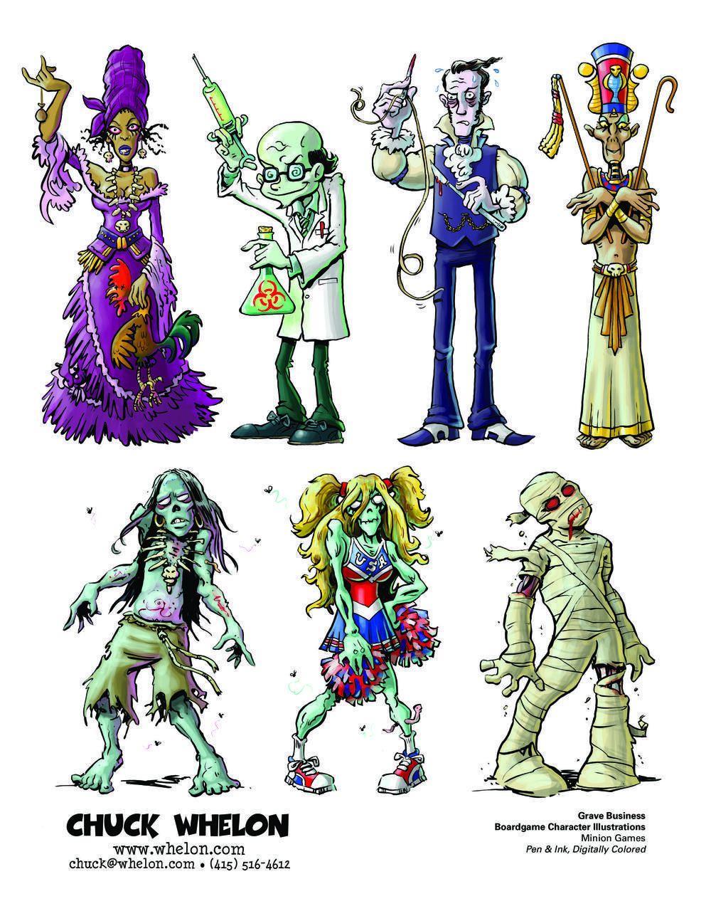 "Character illustrations for ""Grave Business"", a boardgame, published by Minion Games."