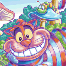 Cheshire Cat reading illustration