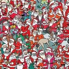 "Search-and-find spread from ""Where's Santa?"", published by Buster Books, an imprint of Michael O'Mara Books."