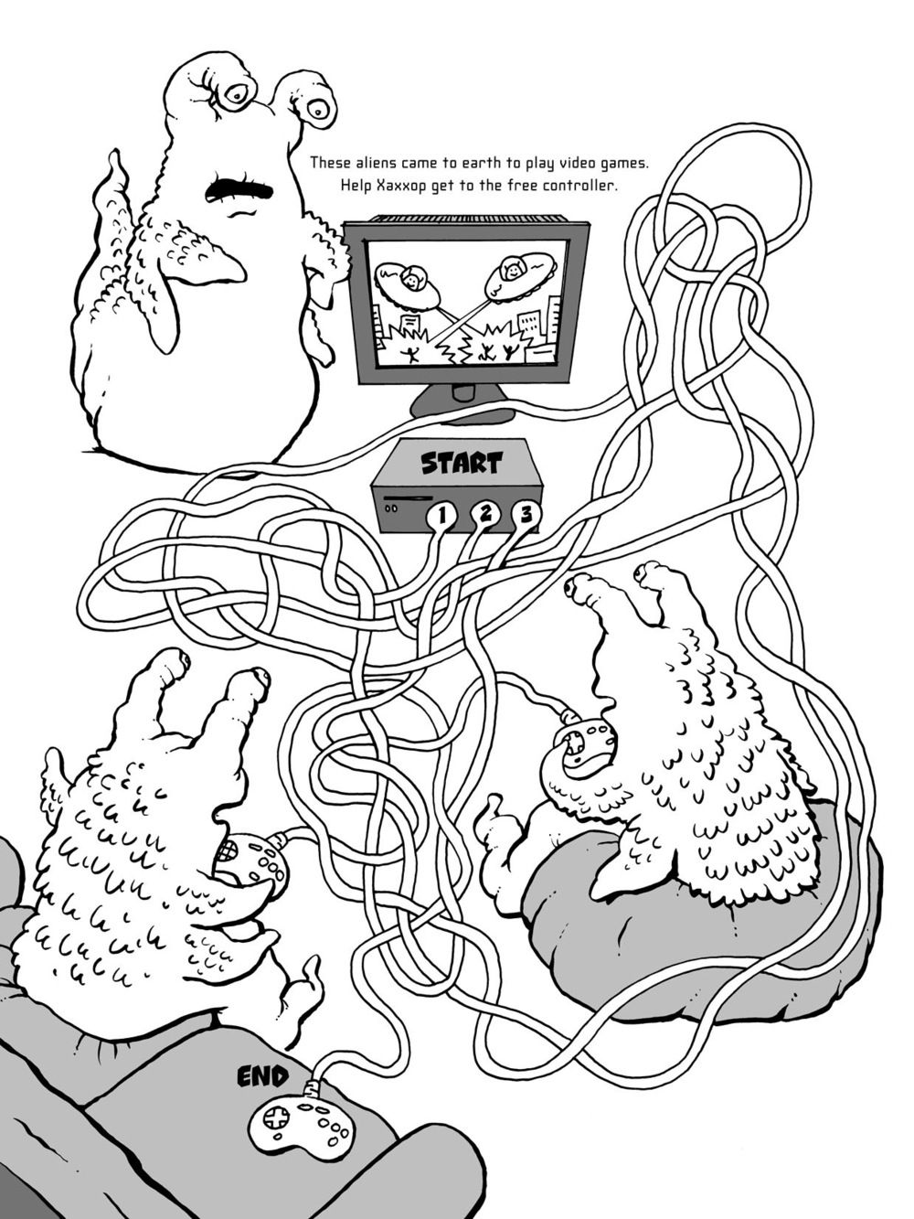 "Maze puzzle for ""Alien Mazes"", published by Dover Publications."