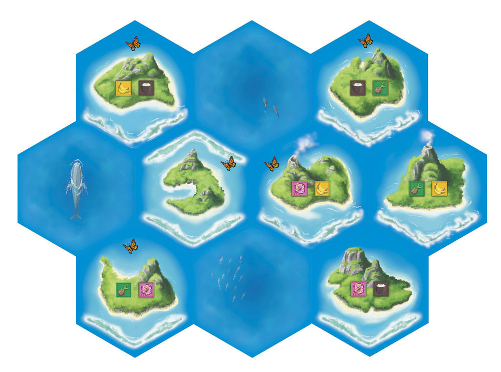 "Board tile illustrations for ""Tahiti"", a boardgame, published by Minion Games."