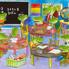 Find the hidden objects in the alligator's classroom.