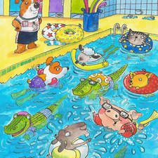 Animals swimming lesson.