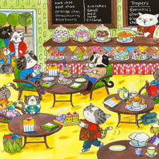 Cats having tea and cupcakes at the Cupcake cafe.