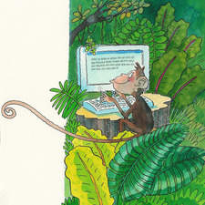 Monkey at the computer in the jungle.