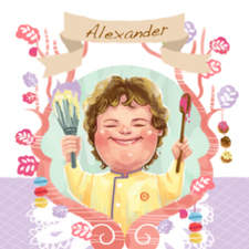 A caricature of chef Alexander from Masterchef Junior. 