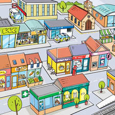 3D illustrated map showing shops