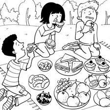 Children enjoying picnic