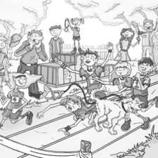 Text book insert sports day event, black and white showing a mixture of characters during a race