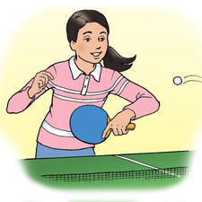 Girl playing table tennis holding bat, ready to hit ball