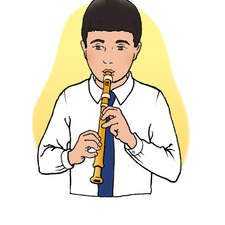 School boy playing recorder