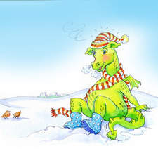 Fiona dragon in the snow with rabbit