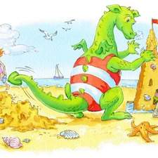 Fiona dragon making a sandcastle and knocking over the children's sandcastle
