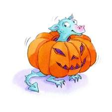 baby dragon in pumpkin