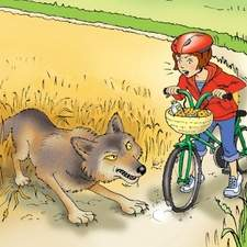Red riding hood on a bike and the wolf frightening her