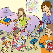 children playing in untidy bedroom with Mother looking annoyed