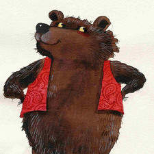 Colin the Bear showing off his new red waistcoat.