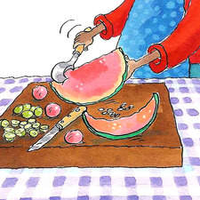 How to make a fruit salad, scooping out the melon.