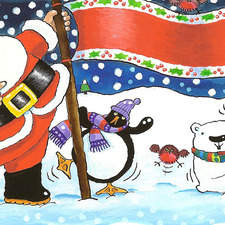 Santa Claus and his friends are having fun in the snow.