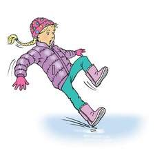 primary age girl skidding on ice