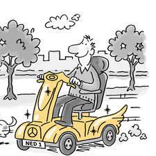 Cartoon vignettes for elder care funding booklet
