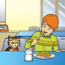 Children eating lunch in school canteen with cat