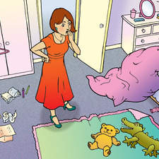 Girl's untidy bedroom, shocked Mother