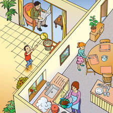 Cut-away view of home with family doing various activities