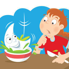 Girl sitting at the table with a bowl of a soup, looking very surprised when the moon lands in her soup.