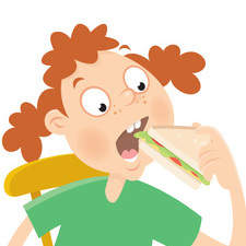 A girl eating a sandwich