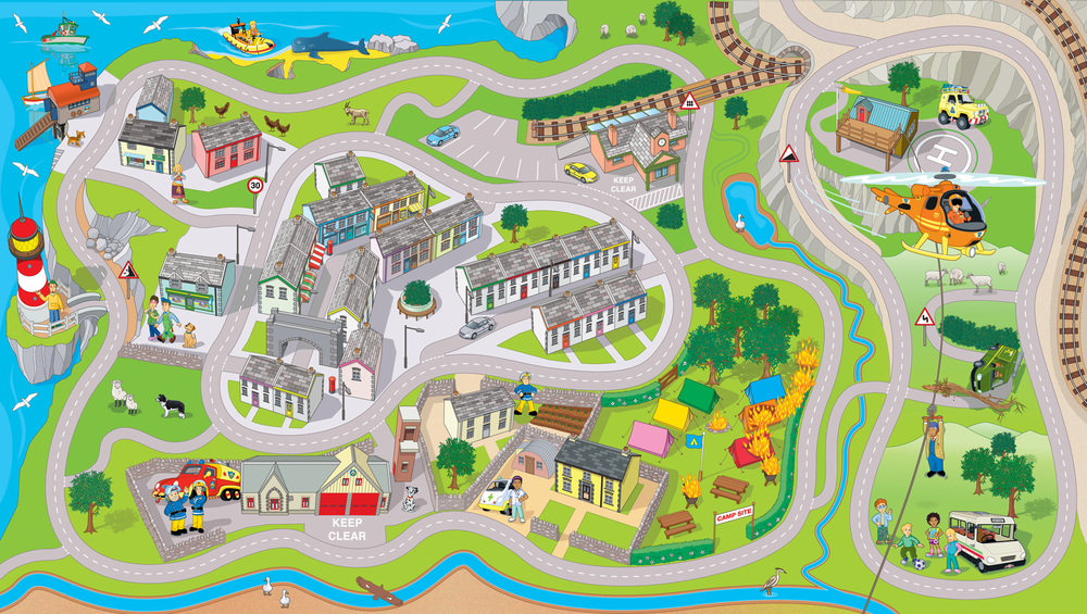 Activity Map of Pontypandy featuring all the Fireman Sam Characters