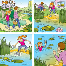 Mother and daughter going for a picnic. Girl dreaming of a pet, catches a goldfish.