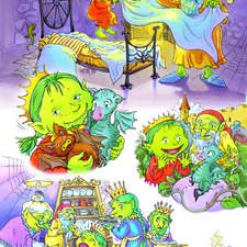 Goblin Princess and her family in their castle with her pet baby dragon.