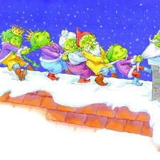 Goblin Princess and her family pulling Santa out of the chimney