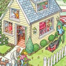 American family home, grandpa teaching little girl to ride a bike, boy mowing a lawn, mum hoovering, handicapped boy setting the table, dad cooking