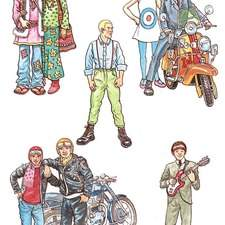 Some 1960 characters, hippies, mods, rockers, a Beatle, a skinhead.