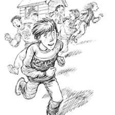 Mischeivous children running away from scene of broken window.